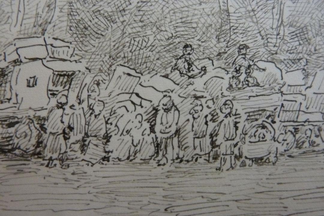 schets vertrek evacuées